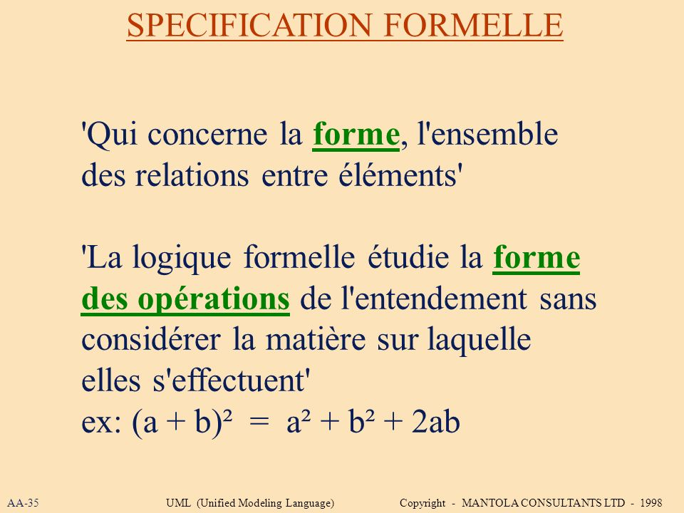 SPECIFICATION FORMELLE