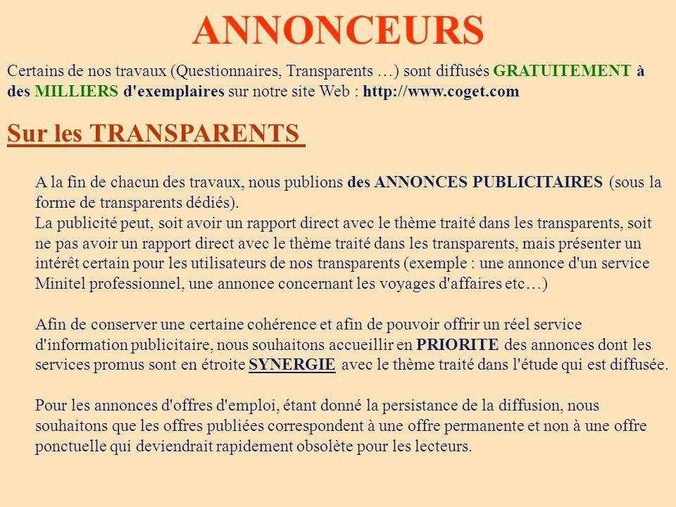 ANNONCEURS Sur les TRANSPARENTS