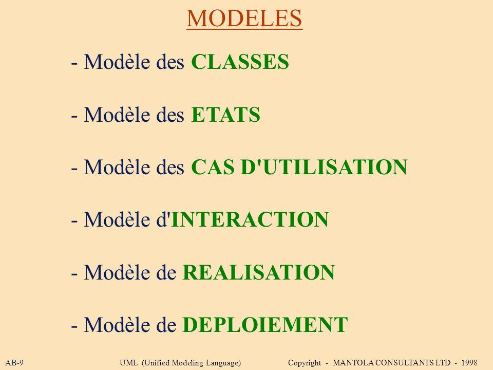 MODELES - Modèle des CLASSES - Modèle des ETATS