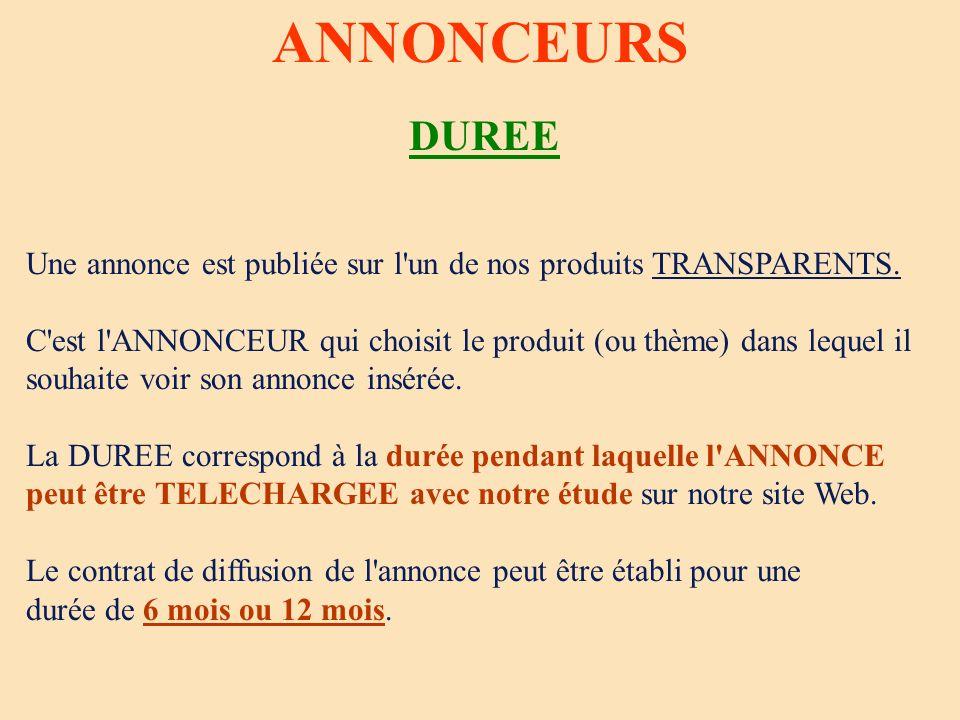 ANNONCEURS DUREE. Une annonce est publiée sur l un de nos produits TRANSPARENTS. C est l ANNONCEUR qui choisit le produit (ou thème) dans lequel il.