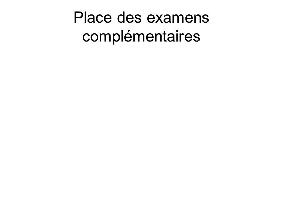 Place des examens complémentaires