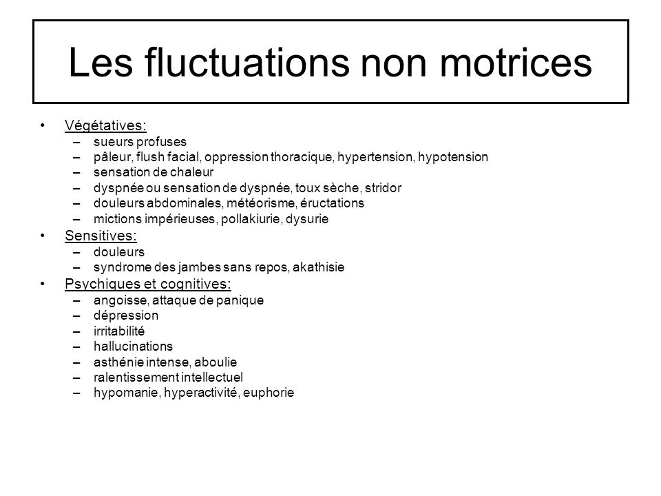 Les fluctuations non motrices
