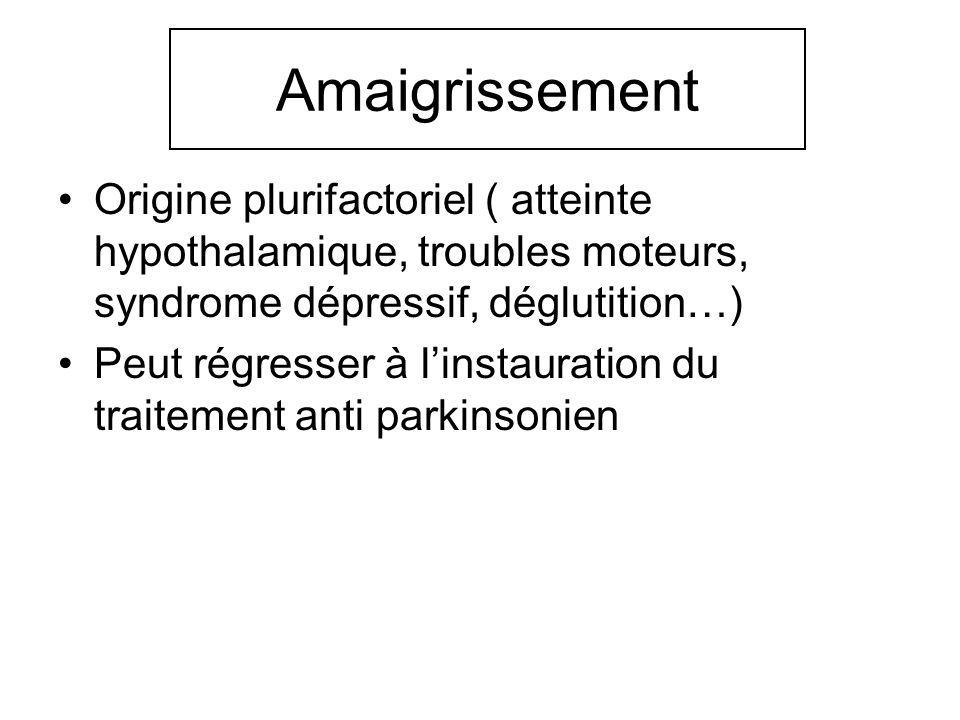 Amaigrissement Origine plurifactoriel ( atteinte hypothalamique, troubles moteurs, syndrome dépressif, déglutition…)