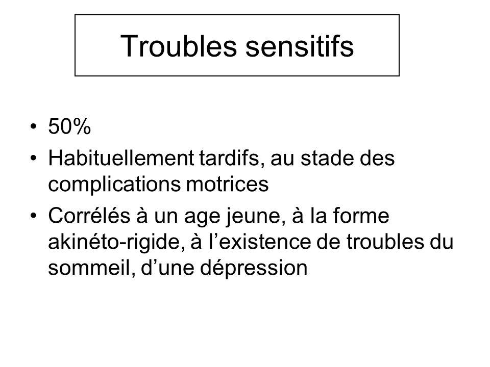 Troubles sensitifs 50% Habituellement tardifs, au stade des complications motrices.