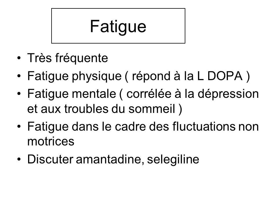 Fatigue Très fréquente Fatigue physique ( répond à la L DOPA )