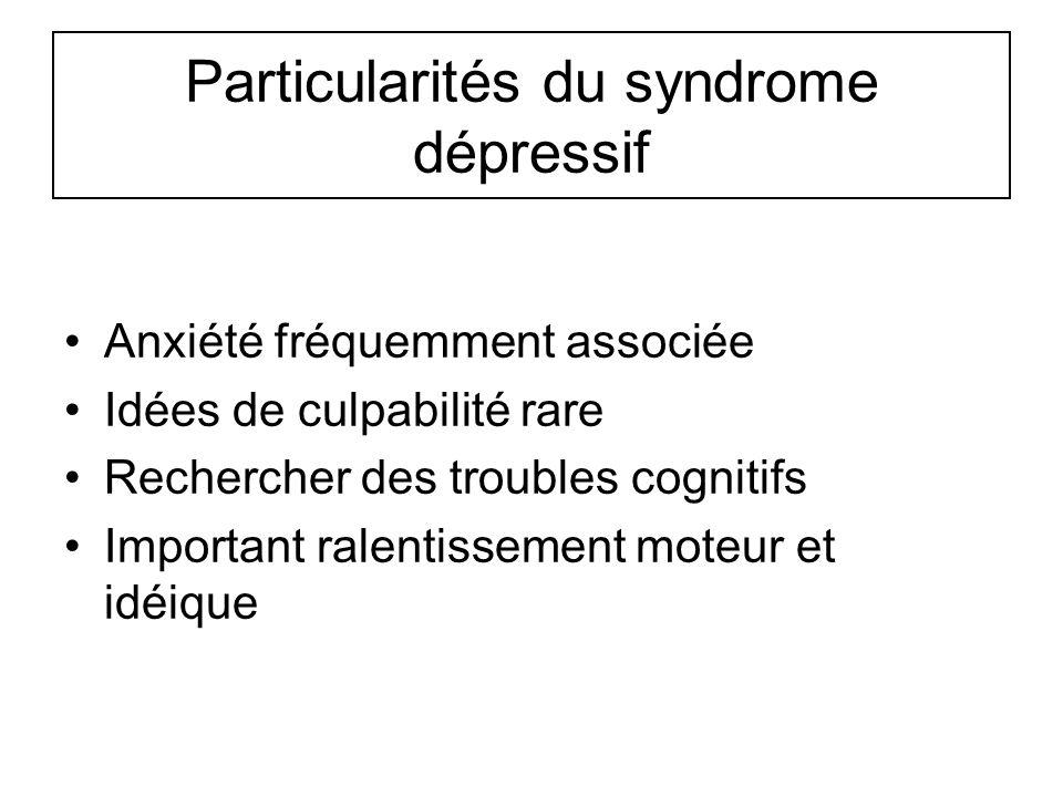 Particularités du syndrome dépressif
