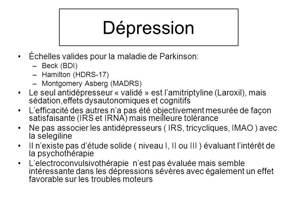 Dépression Échelles valides pour la maladie de Parkinson: