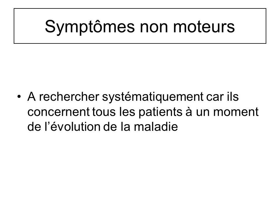 Symptômes non moteurs A rechercher systématiquement car ils concernent tous les patients à un moment de l'évolution de la maladie.