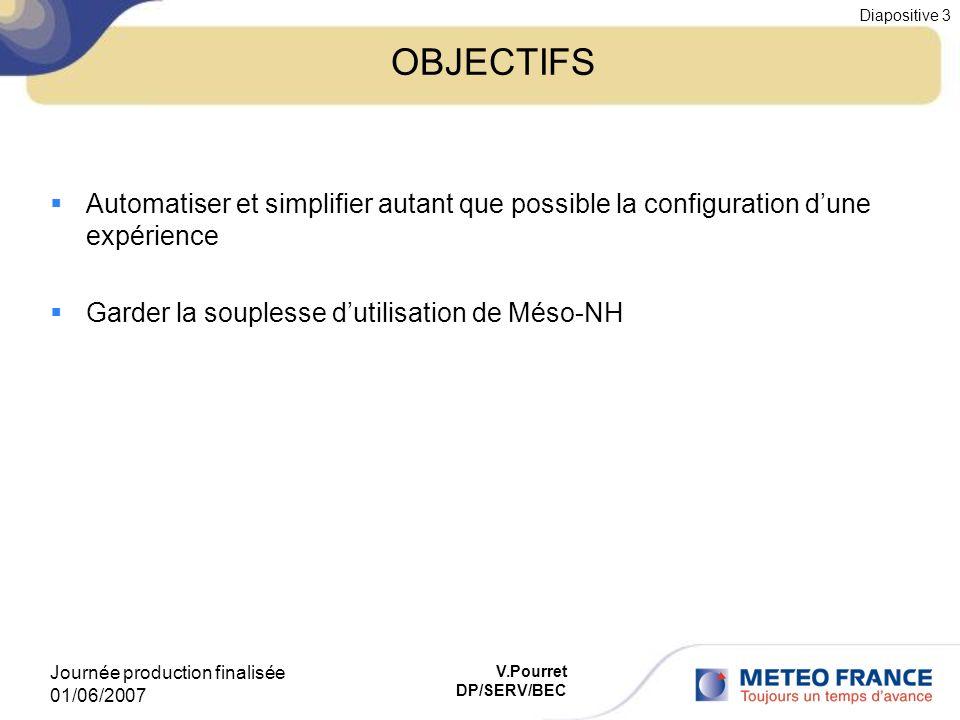 OBJECTIFS Automatiser et simplifier autant que possible la configuration d'une expérience. Garder la souplesse d'utilisation de Méso-NH.