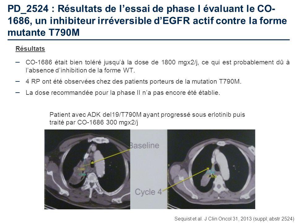 PD_2524 : Résultats de l'essai de phase I évaluant le CO-1686, un inhibiteur irréversible d'EGFR actif contre la forme mutante T790M