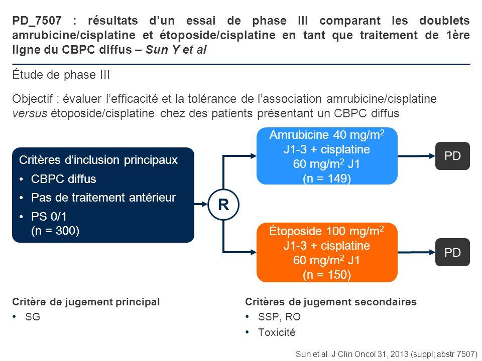 PD_7507 : résultats d'un essai de phase III comparant les doublets amrubicine/cisplatine et étoposide/cisplatine en tant que traitement de 1ère ligne du CBPC diffus – Sun Y et al