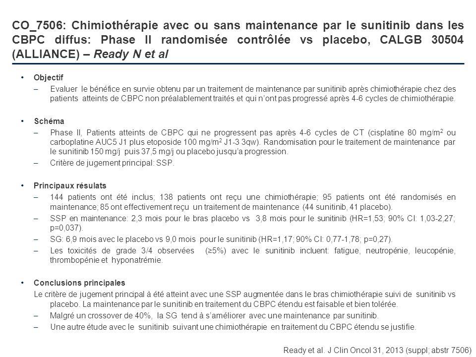 CO_7506: Chimiothérapie avec ou sans maintenance par le sunitinib dans les CBPC diffus: Phase II randomisée contrôlée vs placebo, CALGB 30504 (ALLIANCE) – Ready N et al