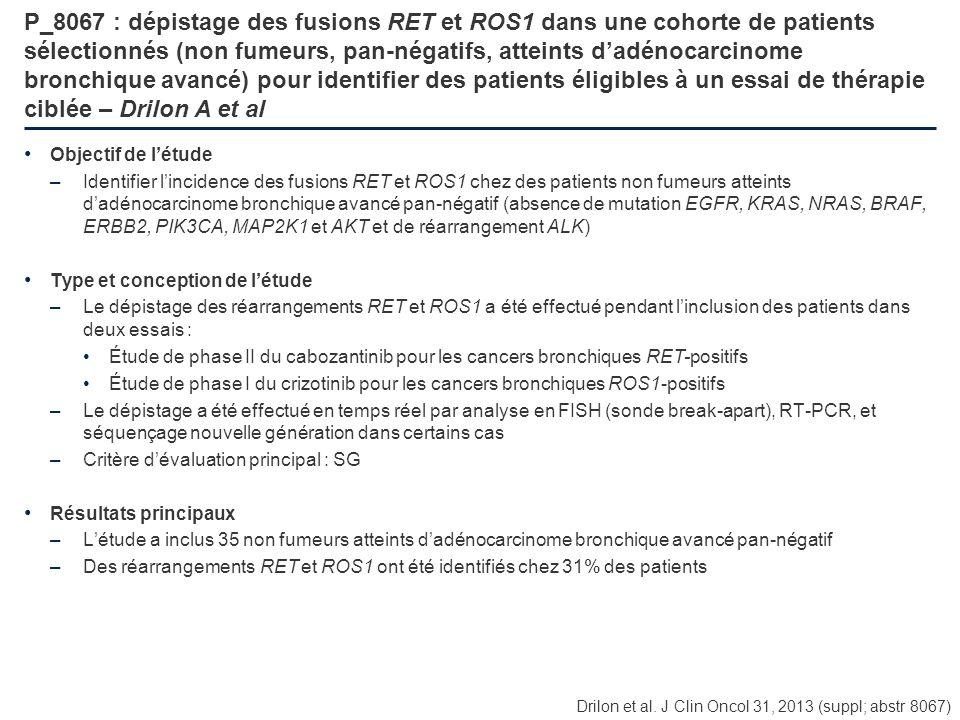 P_8067 : dépistage des fusions RET et ROS1 dans une cohorte de patients sélectionnés (non fumeurs, pan-négatifs, atteints d'adénocarcinome bronchique avancé) pour identifier des patients éligibles à un essai de thérapie ciblée – Drilon A et al