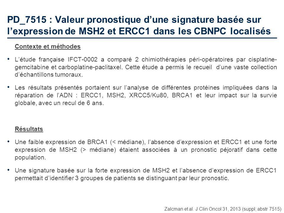 PD_7515 : Valeur pronostique d'une signature basée sur l'expression de MSH2 et ERCC1 dans les CBNPC localisés
