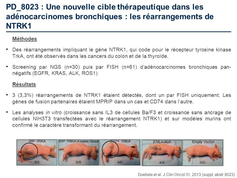 PD_8023 : Une nouvelle cible thérapeutique dans les adénocarcinomes bronchiques : les réarrangements de NTRK1