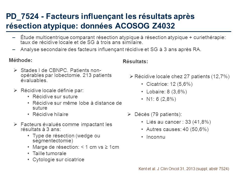 PD_7524 - Facteurs influençant les résultats après résection atypique: données ACOSOG Z4032