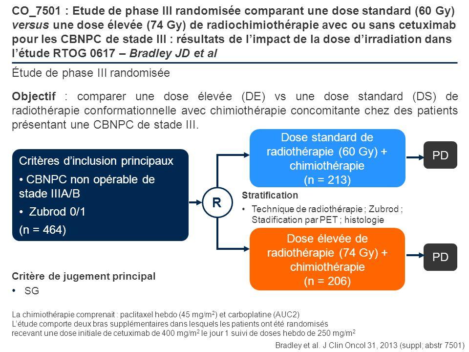 CO_7501 : Etude de phase III randomisée comparant une dose standard (60 Gy) versus une dose élevée (74 Gy) de radiochimiothérapie avec ou sans cetuximab pour les CBNPC de stade III : résultats de l'impact de la dose d'irradiation dans l'étude RTOG 0617 – Bradley JD et al