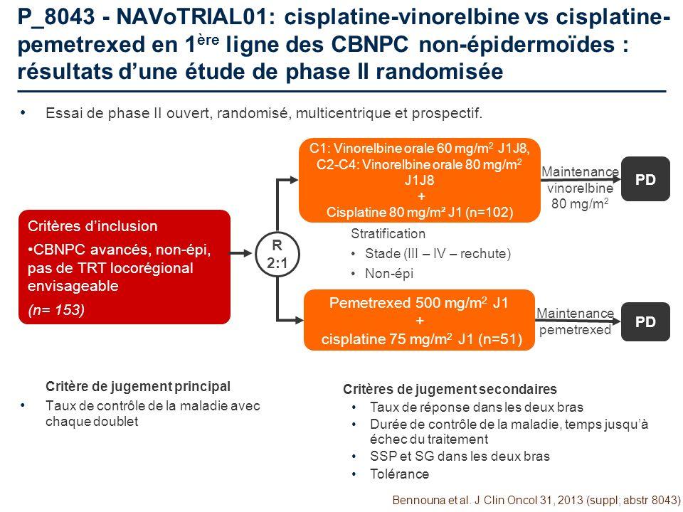 P_8043 - NAVoTRIAL01: cisplatine-vinorelbine vs cisplatine-pemetrexed en 1ère ligne des CBNPC non-épidermoïdes : résultats d'une étude de phase II randomisée