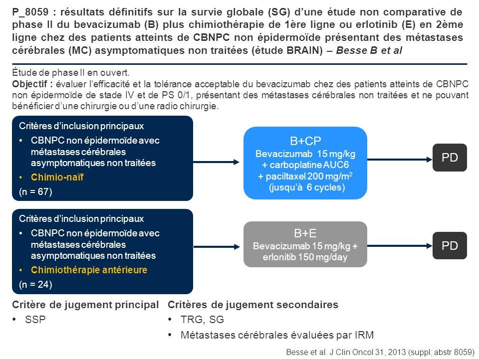 P_8059 : résultats définitifs sur la survie globale (SG) d'une étude non comparative de phase II du bevacizumab (B) plus chimiothérapie de 1ère ligne ou erlotinib (E) en 2ème ligne chez des patients atteints de CBNPC non épidermoïde présentant des métastases cérébrales (MC) asymptomatiques non traitées (étude BRAIN) – Besse B et al