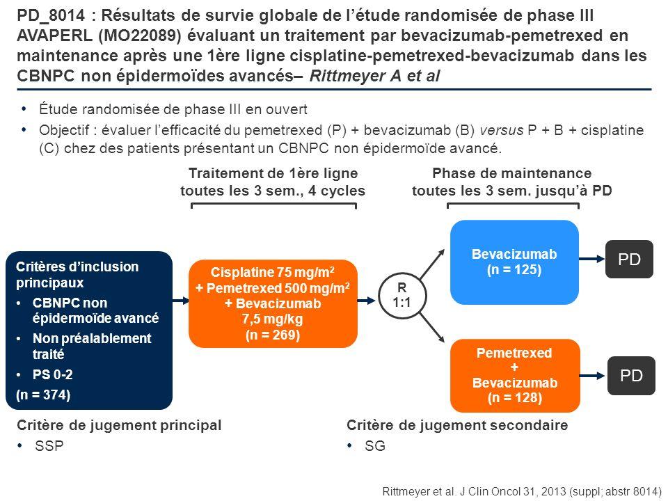 PD_8014 : Résultats de survie globale de l'étude randomisée de phase III AVAPERL (MO22089) évaluant un traitement par bevacizumab-pemetrexed en maintenance après une 1ère ligne cisplatine-pemetrexed-bevacizumab dans les CBNPC non épidermoïdes avancés– Rittmeyer A et al