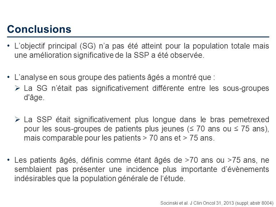 Conclusions L'objectif principal (SG) n'a pas été atteint pour la population totale mais une amélioration significative de la SSP a été observée.