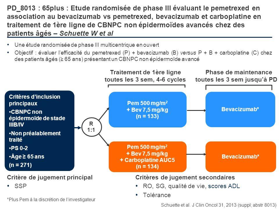 PD_8013 : 65plus : Etude randomisée de phase III évaluant le pemetrexed en association au bevacizumab vs pemetrexed, bevacizumab et carboplatine en traitement de 1ère ligne de CBNPC non épidermoïdes avancés chez des patients âgés – Schuette W et al