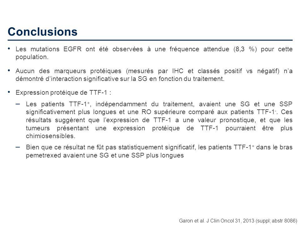 Conclusions Les mutations EGFR ont été observées à une fréquence attendue (8,3 %) pour cette population.