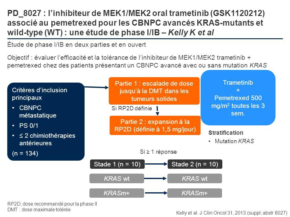 PD_8027 : l'inhibiteur de MEK1/MEK2 oral trametinib (GSK1120212) associé au pemetrexed pour les CBNPC avancés KRAS-mutants et wild-type (WT) : une étude de phase I/IB – Kelly K et al