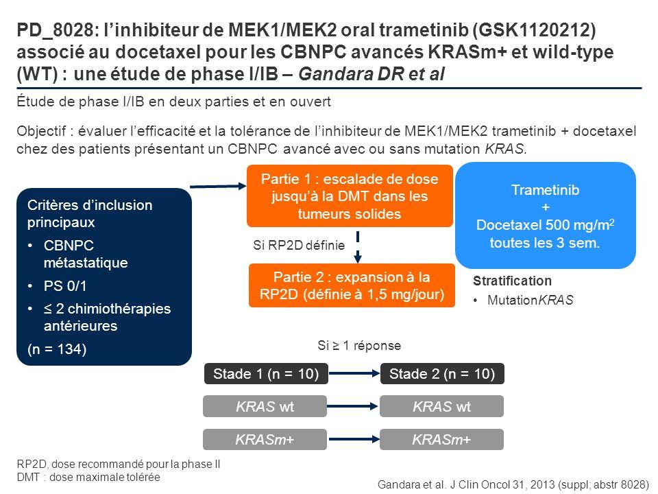 PD_8028: l'inhibiteur de MEK1/MEK2 oral trametinib (GSK1120212) associé au docetaxel pour les CBNPC avancés KRASm+ et wild-type (WT) : une étude de phase I/IB – Gandara DR et al
