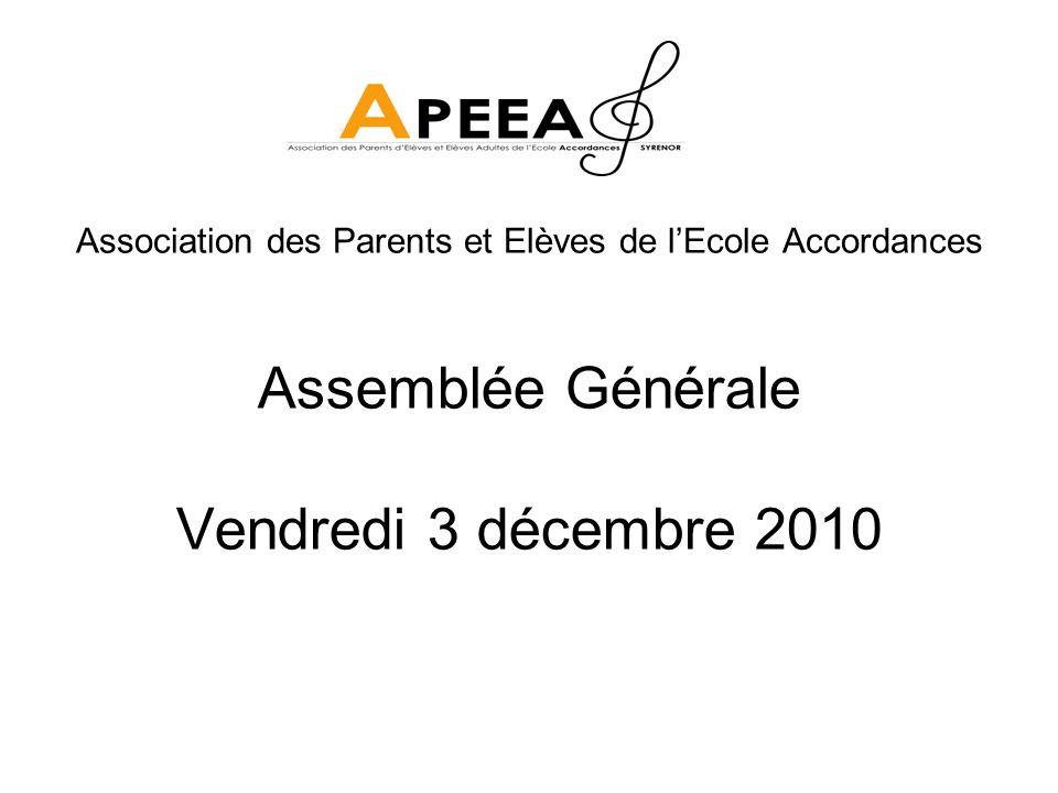 Assemblée Générale Vendredi 3 décembre 2010