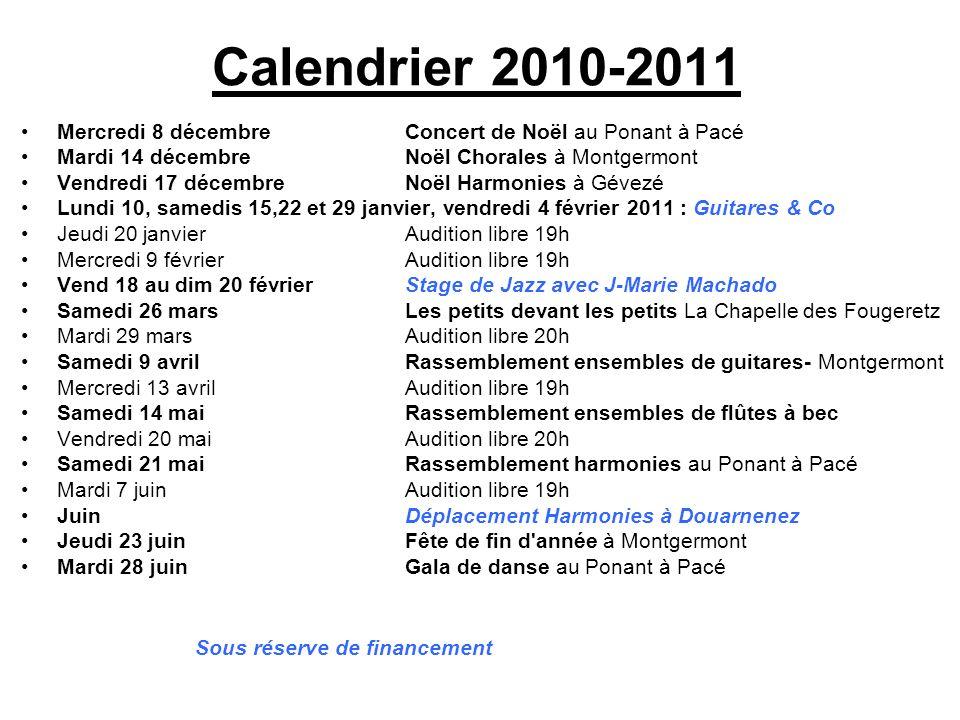 Calendrier 2010-2011 Mercredi 8 décembre Concert de Noël au Ponant à Pacé. Mardi 14 décembre Noël Chorales à Montgermont.