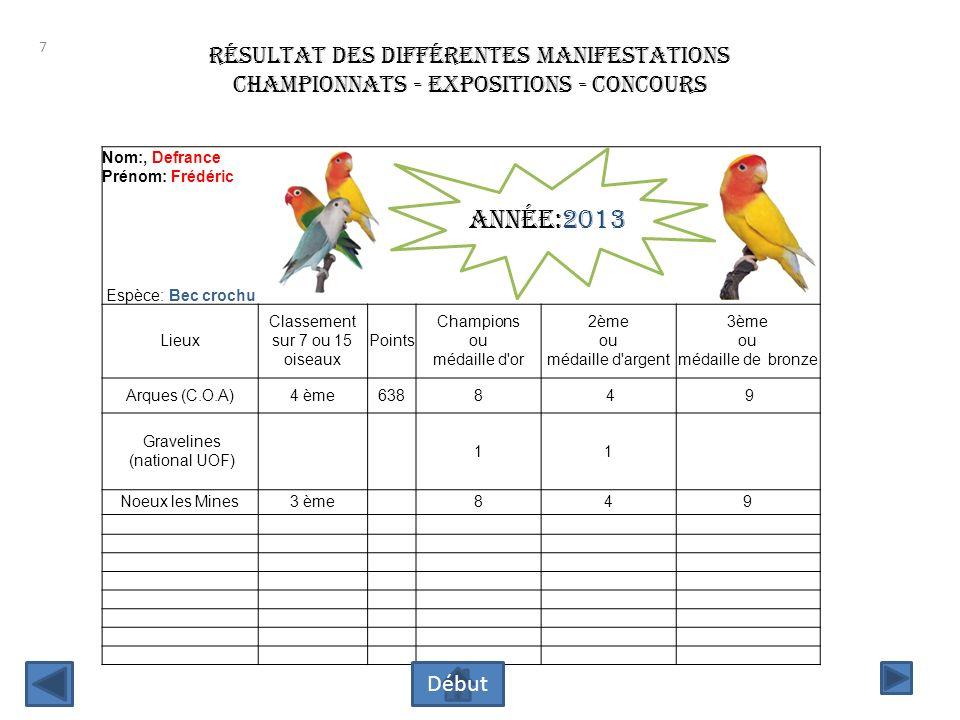 Année:2013 résultat des différentes manifestations