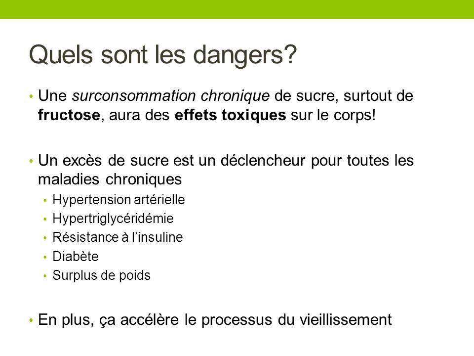 Quels sont les dangers Une surconsommation chronique de sucre, surtout de fructose, aura des effets toxiques sur le corps!
