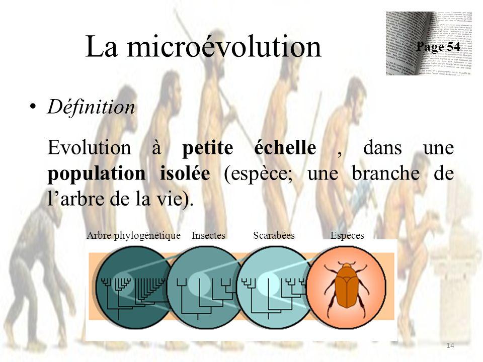 La microévolution Définition