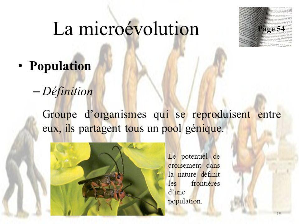 La microévolution Population Définition