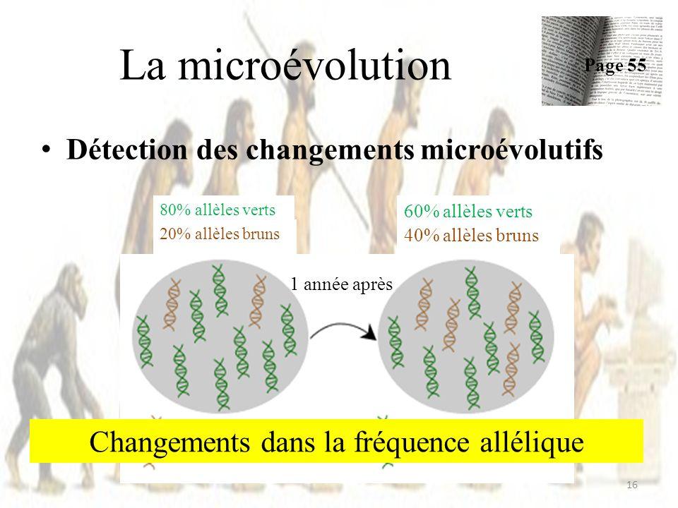 Changements dans la fréquence allélique