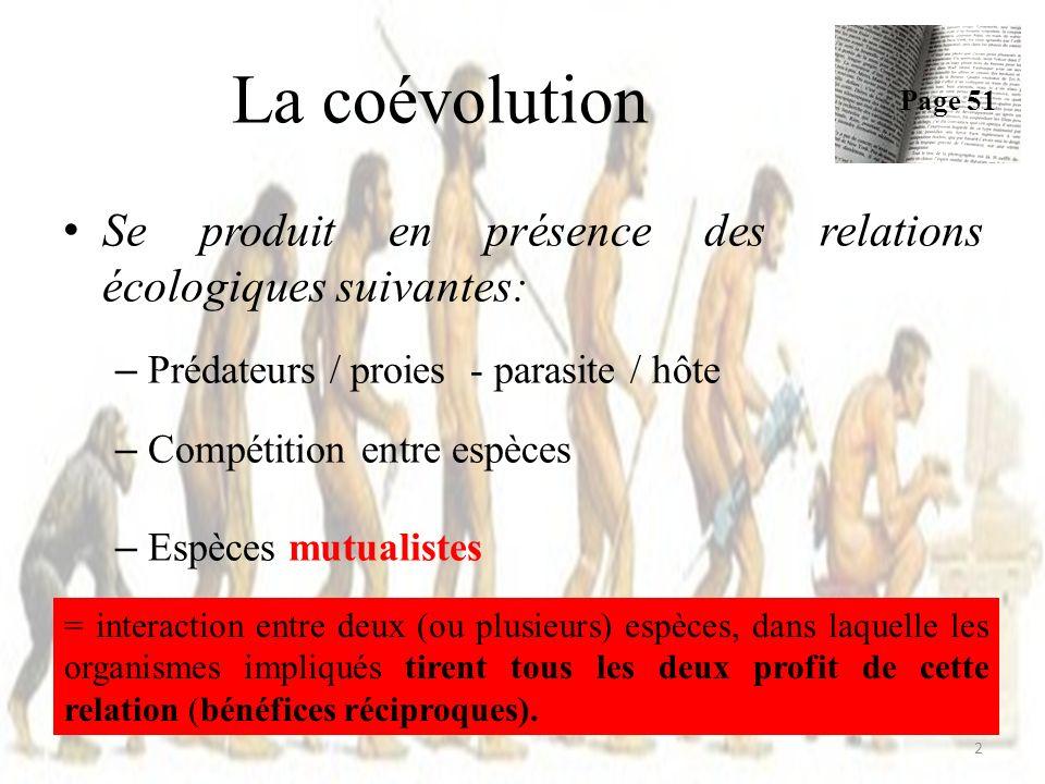 La coévolution Page 51. Se produit en présence des relations écologiques suivantes: Prédateurs / proies - parasite / hôte.