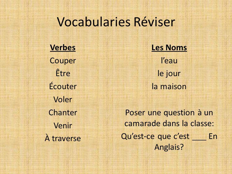 Vocabularies Réviser Verbes Couper Être Écouter Voler Chanter Venir