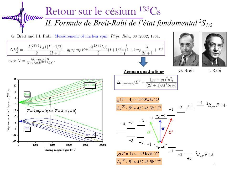 Retour sur le césium 133Cs II. Formule de Breit-Rabi de l'état fondamental 2S1/2. Zeeman quadratique.