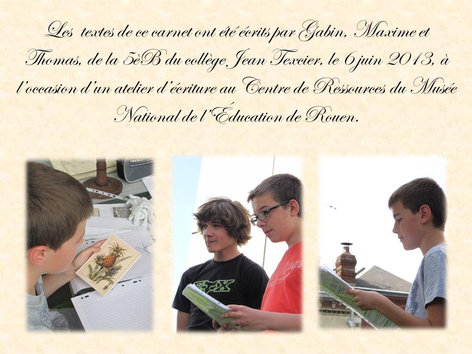 Les textes de ce carnet ont été écrits par Gabin, Maxime et Thomas, de la 5èB du collège Jean Texcier, le 6 juin 2013, à l'occasion d'un atelier d'écriture au Centre de Ressources du Musée National de l'Éducation de Rouen.