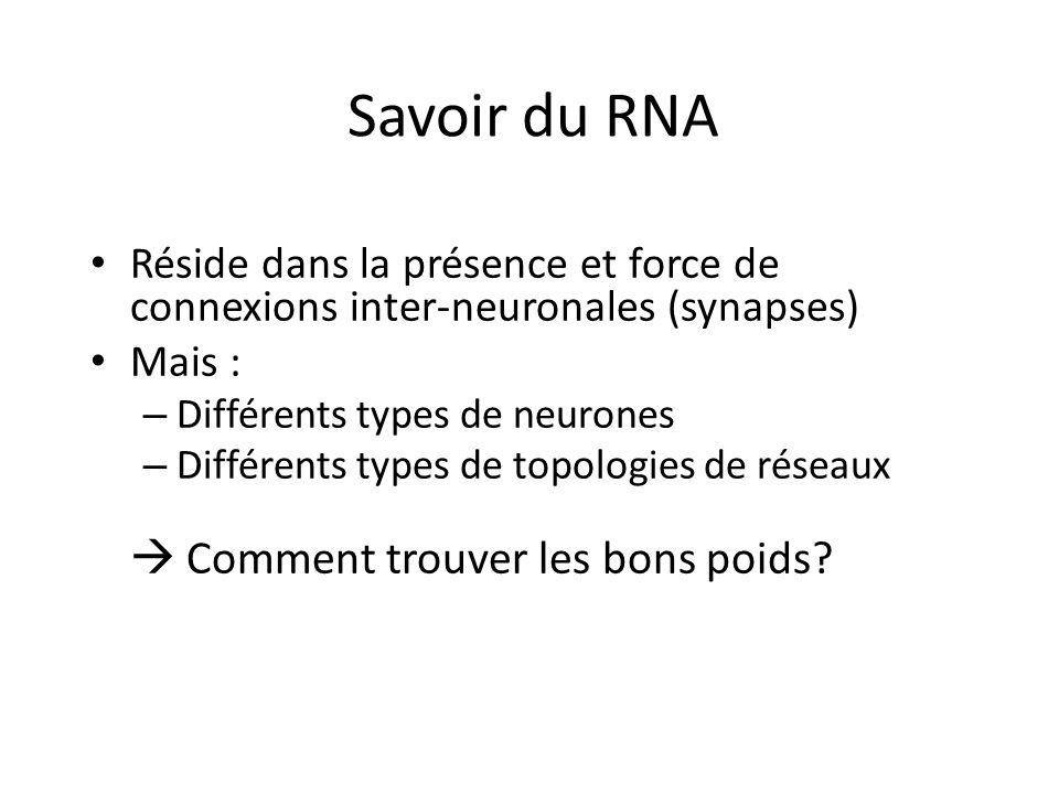 Savoir du RNA Réside dans la présence et force de connexions inter-neuronales (synapses) Mais : Différents types de neurones.