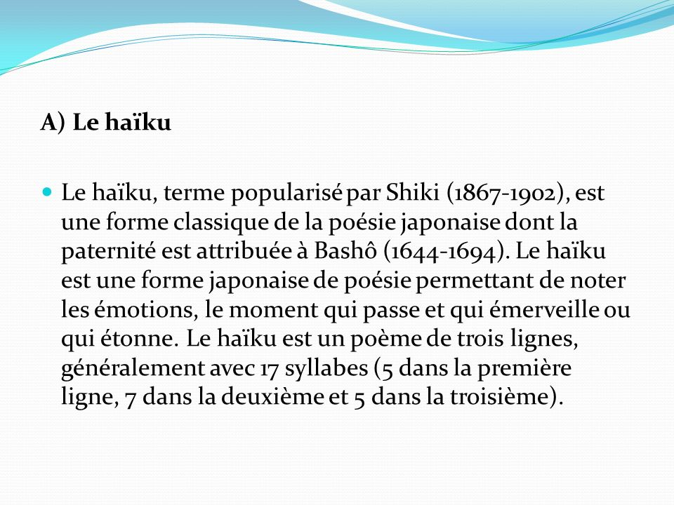 A) Le haïku