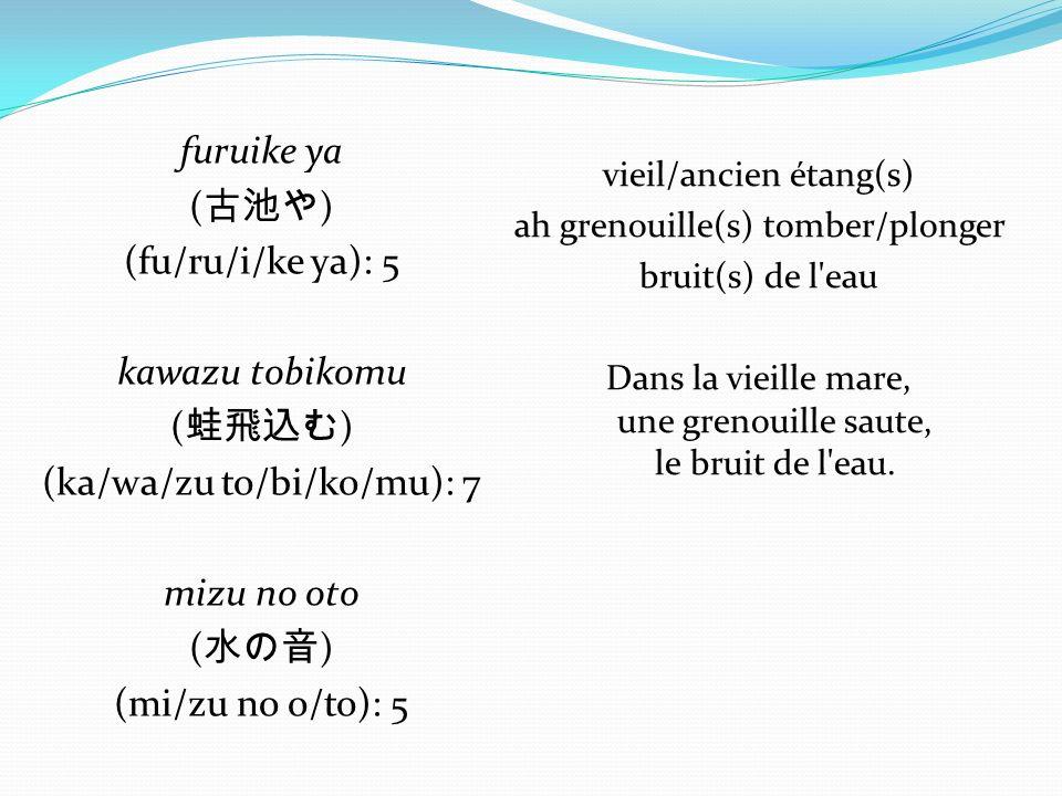 furuike ya (古池や) (fu/ru/i/ke ya): 5 kawazu tobikomu (蛙飛込む) (ka/wa/zu to/bi/ko/mu): 7 mizu no oto (水の音) (mi/zu no o/to): 5