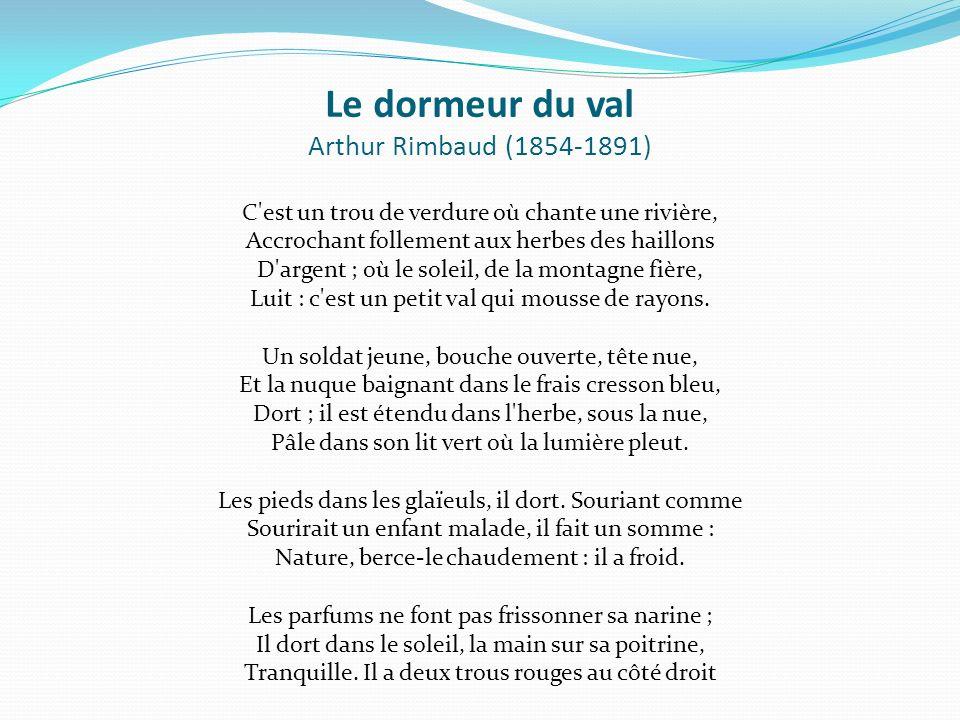 Fran ais 8 madame lisette valotaire cole du carrefour ppt - Dormeur du val rimbaud ...