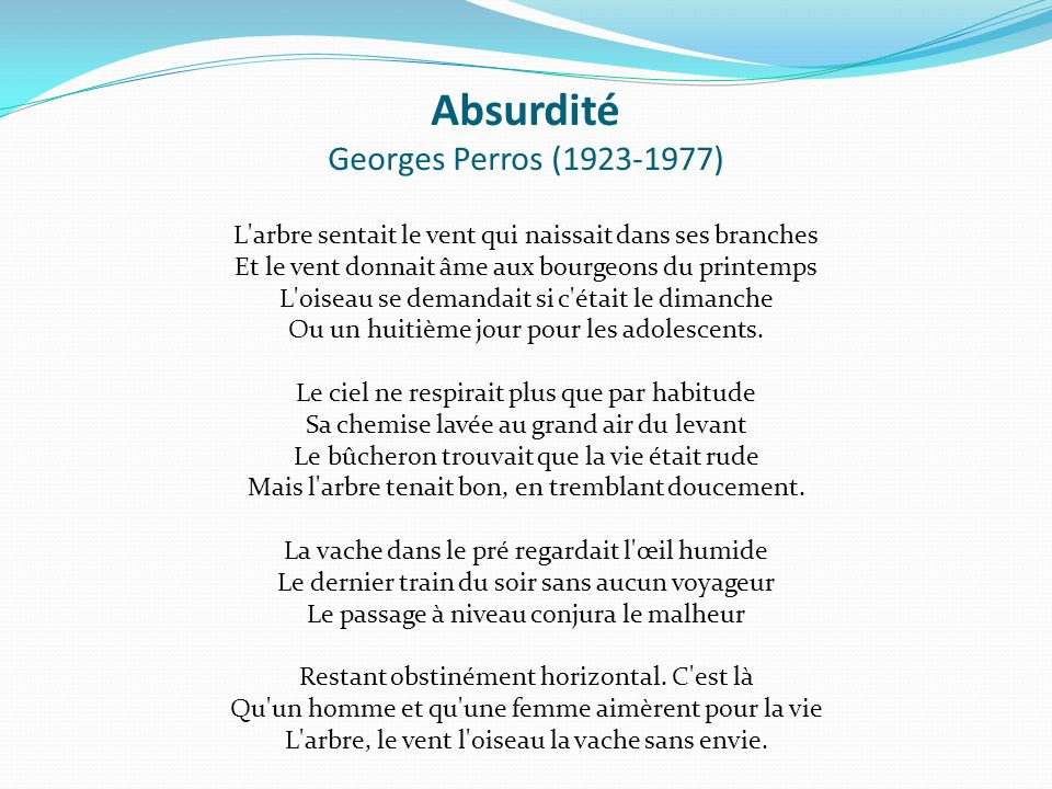 Absurdité Georges Perros (1923-1977)