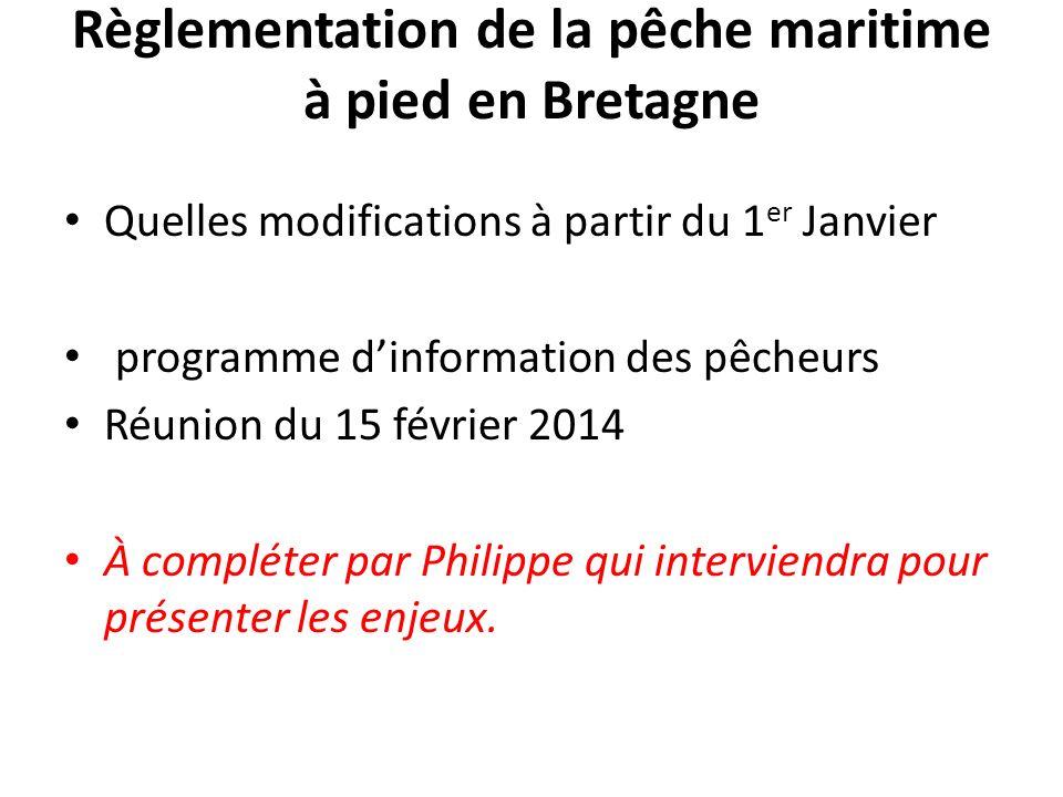 Règlementation de la pêche maritime à pied en Bretagne