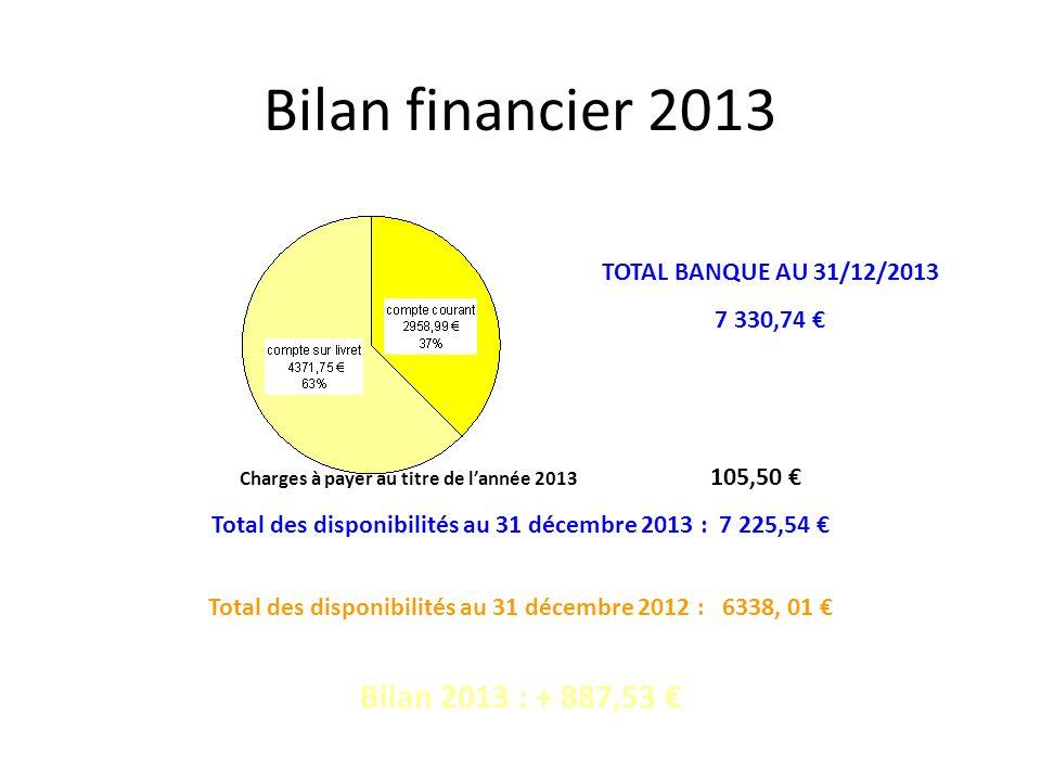 Bilan financier 2013 Bilan 2013 : + 887,53 €