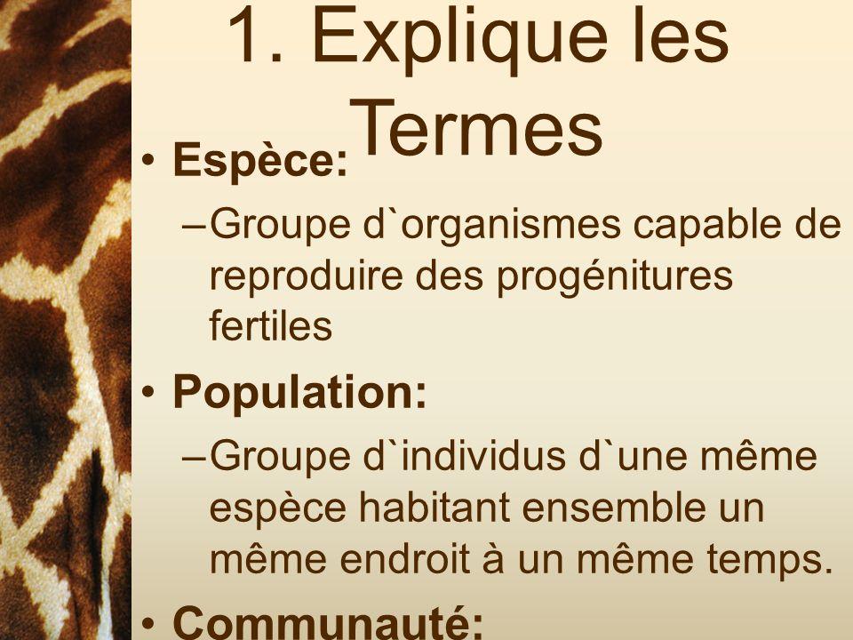 1. Explique les Termes Espèce: Population: Communauté: