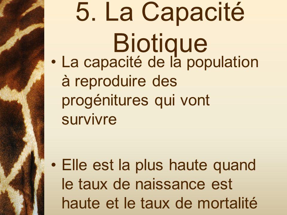 5. La Capacité Biotique La capacité de la population à reproduire des progénitures qui vont survivre.