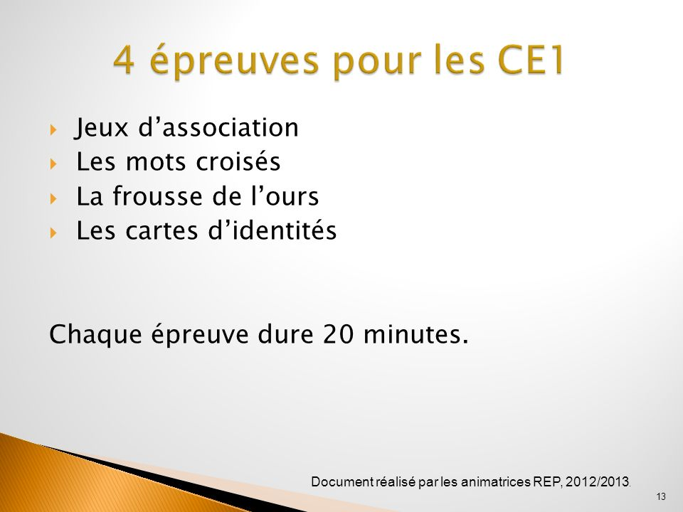 4 épreuves pour les CE1 Jeux d'association Les mots croisés